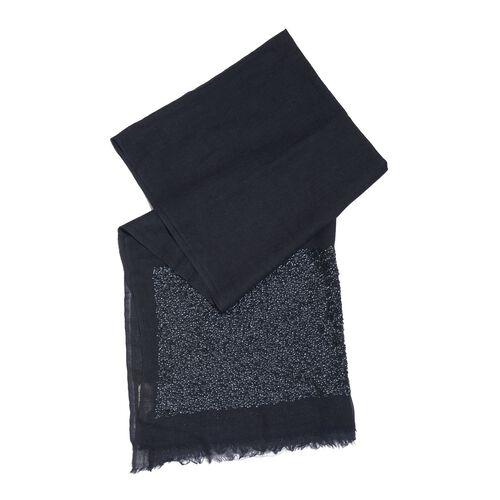 Close Out Deal Designer Inspired - Merino Wool and Mulberry Silk Shawl With Hand Done Sequin Embellishment and Fringes - Dark Blue (Size 200X70 Cm)