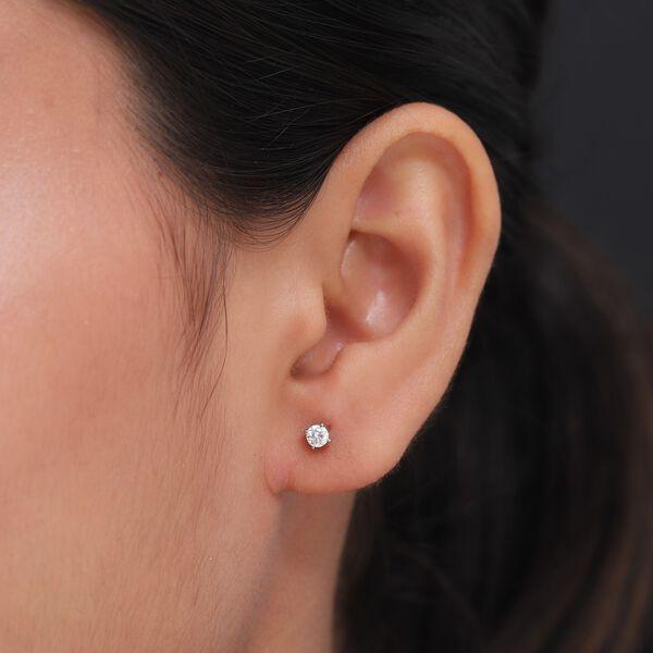 RHAPSODY 950 Platinum IGI Certified Diamond (VS/E-F) Solitaire Stud Earrings (with Screw Back) 0.20 Ct