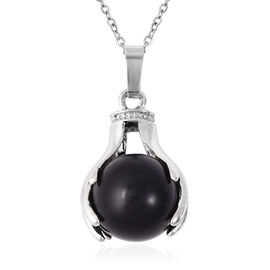 35.50 Ct Black Agate Solitaire Pendant with Chain in Stainless Steel