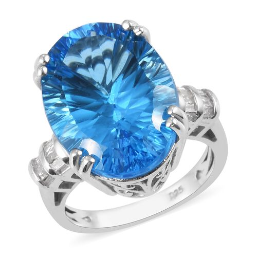 Swiss Blue Topaz and Diamond Ring in Platinum Overlay Sterling Silver 17.18 Ct, Silver wt 5.92 Gms