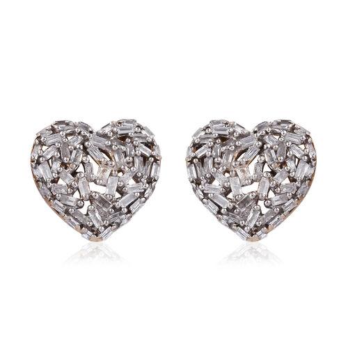 GP Diamond (Bgt), Kanchanaburi Blue Sapphire Heart Stud Earrings (with Push Back) in 14K Gold Overlay Sterling Silver 0.500 Ct,
