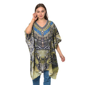 Olive Green, Black and Multi Colour Digital Printed Kaftan One Size (90x75 Cm)