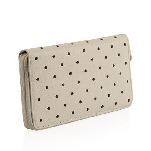 Cecilla Laser Cut Design RFID 100% Genuine Leather Off White Polka Dot Pattern Long Wallet (Size 20x10 Cm)