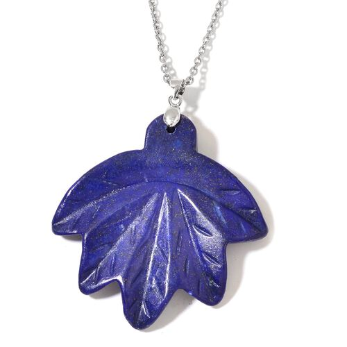 Hand Carved Lapis Lazuli Maple Leaf Pendant With Chain (Size 24) in Rhodium Plated Sterling Silver and Stainless Steel 158.500 Ct.