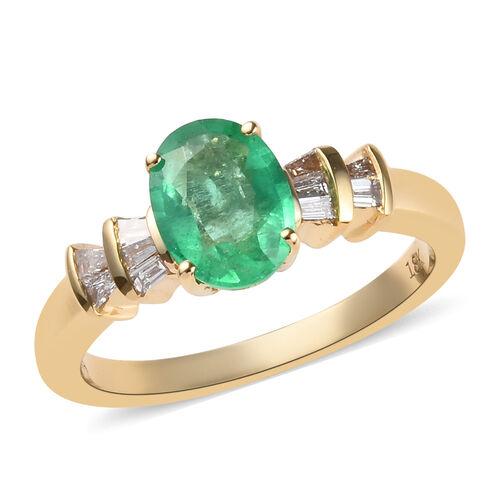 ILIANA 1.25 Ct AAA Boyaca Colombian Emerald and Diamond Ballerina Ring in 18K Yellow Gold SI GH