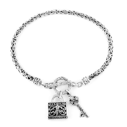 Royal Bali Collection- Sterling Silver Key and Lock Charm Bracelet (Size 7), Silver wt 13.88 Gms.