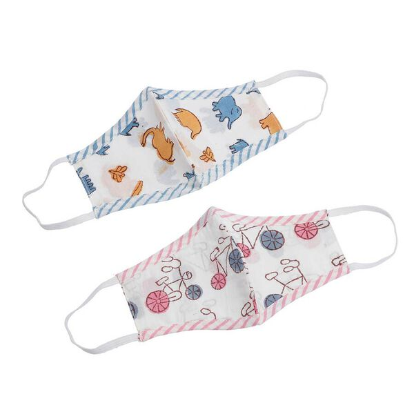 2 Piece Set - 100% Cotton Hand Block Printed Bicycle and Elephant Double Layer Reusable Face Cover - Brown, Blue and Pink