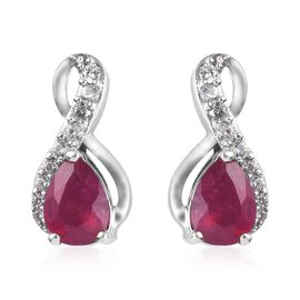 AA African Ruby and Natural Cambodian Zircon Earrings (with Push Back) in Platinum Overlay Sterling