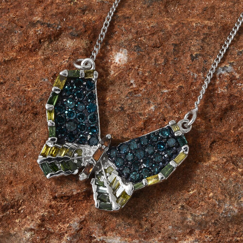 Multi Colour Diamond (Rnd) Butterfly Necklace with Chain (Size 18) in Platinum Overlay Sterling Silver 0.750 Ct.
