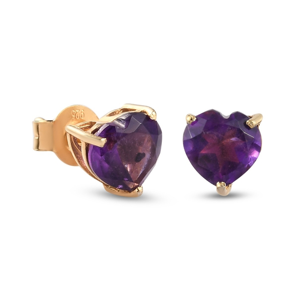 Amethyst Heart Stud Earrings (with Push Back) in 14k Gold Overlay Sterling Silver