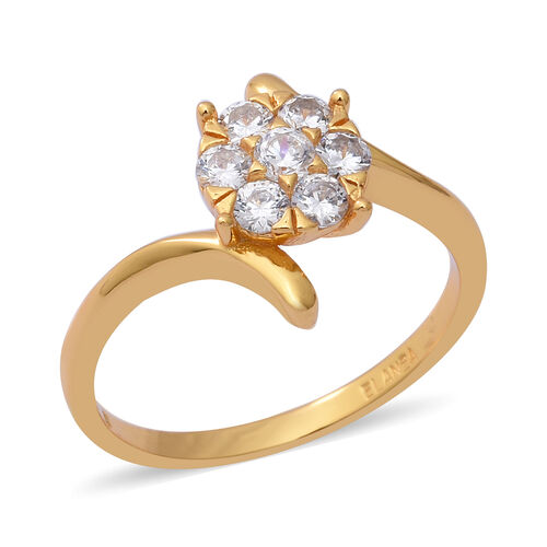 Simulated Diamond (Rnd) in Yellow Gold Overlay Sterling Silver