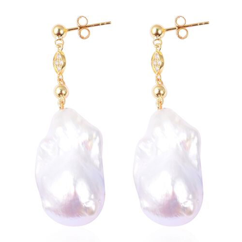 White Baroque Pearl and Natural White Cambodian Zircon Earrings (with Push Back) in Yellow Gold Overlay Sterling Silver
