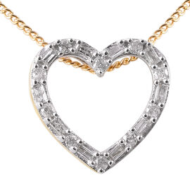 9K Yellow Gold SGL Certified Diamond (Rnd and Bgt) (I3/G-H) Heart Pendant with Chain 0.15 Ct.