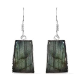 Extremely Rare Shape - Pauls Island Labradorite (Cush) Sterling Silver Hook Earrings 29.880 Ct.