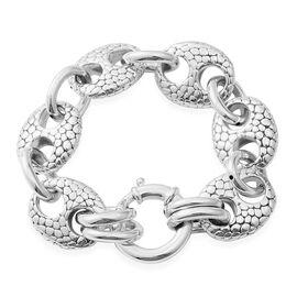 Rhodium Overlay Sterling Silver Mariner Link Bracelet (Size 7.5), Silver wt: 21.14 Gms.