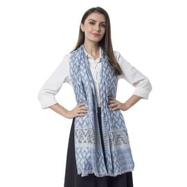 Blue, Black, Grey and Silver Colour Scarf with Geometric Drawing and Strip Pattern (Size 190x70 Cm)
