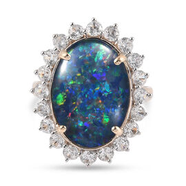 9K Yellow Gold AA Australian Boulder Opal and Natural Cambodian Zircon Ring 9.71 Ct.