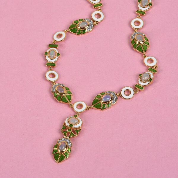 Ethiopian Welo Opal and Natural Cambodian Zircon Enamelled Necklace (Size 18 with 2 inch Extender) in 14K Gold Overlay Sterling Silver 6.25 Ct, Silver wt. 26.00 Gms