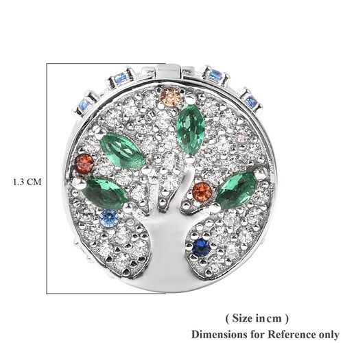Charmes De Memoire- Simulated Emerald and Multi Colour Gemstone Openable Charm in Rhodium Overlay Sterling Silver