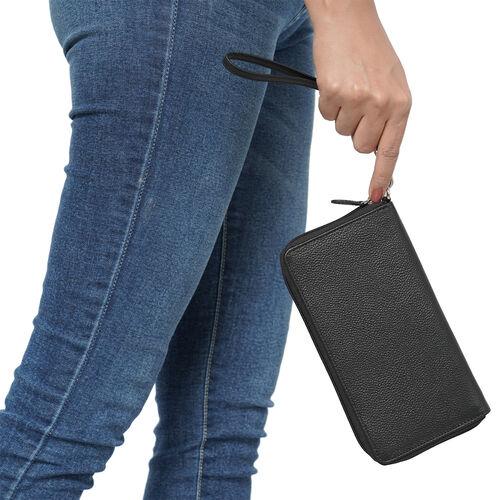 Super Soft 100% Genuine Nappa Leather RFID Clutch Wallet in Black (19.8x10.9cm)