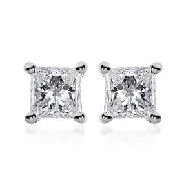RHAPSODY 950 Platinum IGI Certified Diamond (Sqr) (VS/E-F) Stud Earrings (wih Screw Back) 0.200 Ct.