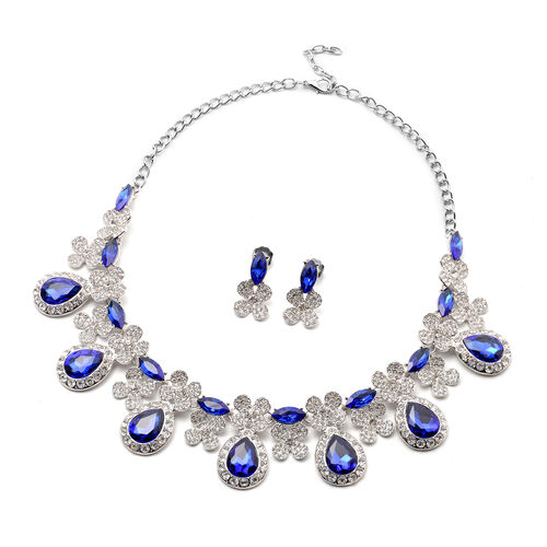 2 Piece Set - Simulated Tanzanite and White Austrian Crystal Drop Earrings and Adjustable Necklace (