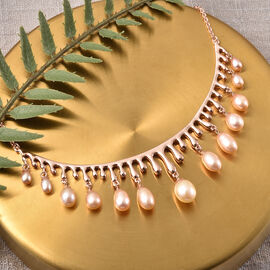 LucyQ Pearl Drop Collection-  Peach Freshwater Pearl Necklace (Size:16 with 4 inch Extender) in Rose Gold Overlay Sterling Silver