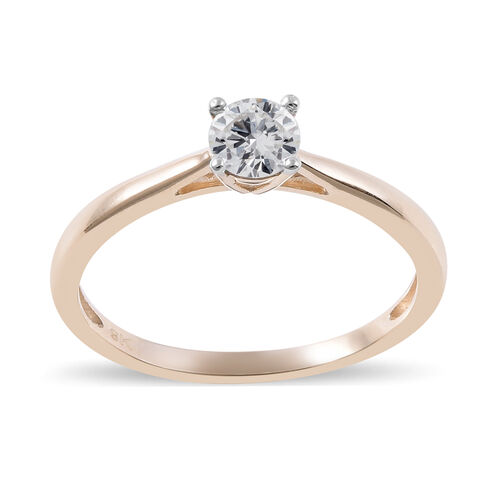 9K Yellow Gold SGL Certified Natural Diamond (I3/G-H) Solitaire Ring 0.50 Ct.