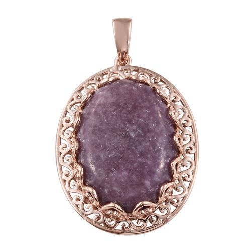 One Time Deal- Very Rare Natural Lepidolite (Ovl) Pendant in Rose Gold Plated 40.750 Ct