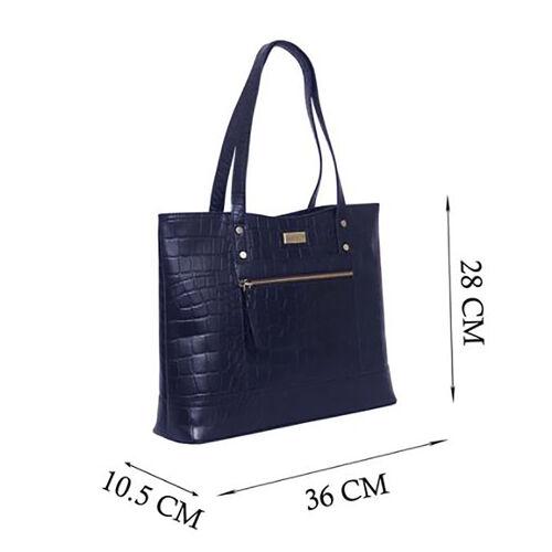 Assots London HELENE - 100% Genuine Croc Leather Handbag (Size 39x26x10cm) - Navy