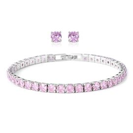 2 Piece Set Simulated Pink Sapphire Tennis Bracelet and Stud Earrings in Silver Tone