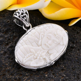 Royal Bali Collection - OX Bone Lord Buddha Carved Reversible Pendant in Sterling Silver, Silver wt 6.00 Gms