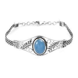 Blue Jade (Ovl 16x12 mm) Bracelet (Size 7.5) in Sterling Silver 11.50 Ct, Silver wt 13.00 Gms