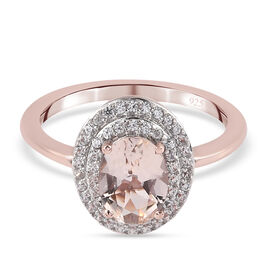 Morganite and Natural Cambodian Zircon Ring in Rose Gold Overlay Sterling Silver 1.39 Ct.