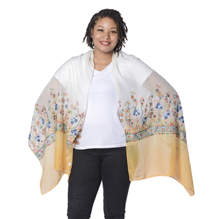 Floral Embroidered Scarf - Light Yellow