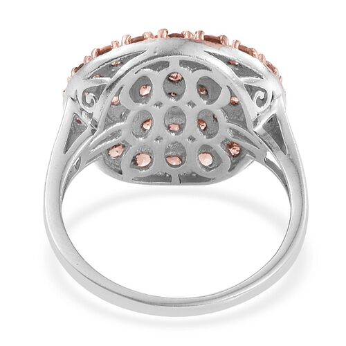Brazilian Andalusite (Rnd) Cluster Ring in Platinum Overlay Sterling Silver 2.500 Ct.