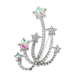 White Austrian Crystal (Rnd), Magic Colour Simulated Diamond Star Brooch