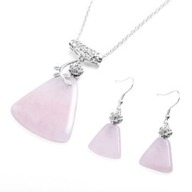 2 Piece Set - Rose Quartz Hook Earrings and Pendant with Chain (Size 20 with 2 inch Extender) in Sil