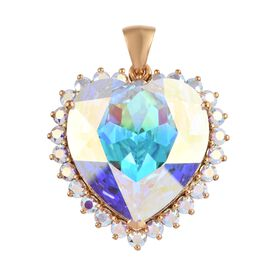 J Francis - Crystal from Swarovski AB Crystal (Hrt 28 mm) Pendant in 14K Gold Overlay Sterling Silve