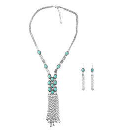One Time Deal- Simulated Blue Turquoise (Ovl) Necklace (Size 30 with 3 inch Extender) and Hook Earrings in Yellow Gold Plated.