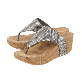 Lotus Patsy Wedge Sandals in Pewter