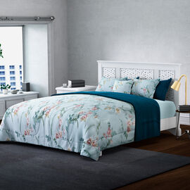 4 Piece Set - Serenity Night Silk Quilt with Printed Cotton Cover, 2 Pillow Cases and Cushion Covers- Teal