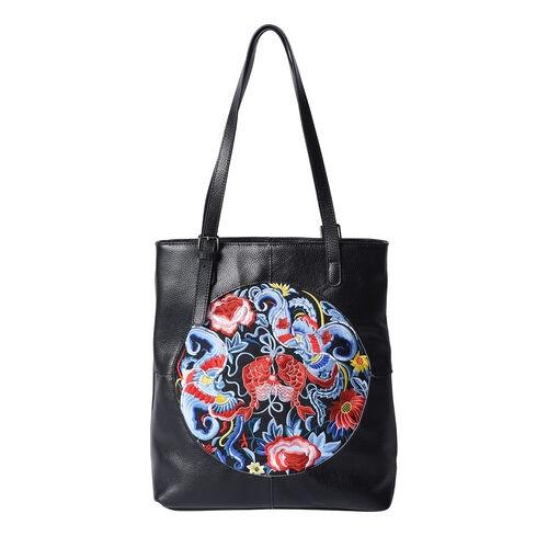 100% Genuine Leather Multi Colour Embroidery Pattern Shoulder Bag with External Zipper Pocket (Size