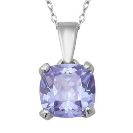 ELANZA Swiss Star Simulated Tanzanite Solitaire Pendant With Chain in Rhodium Plated Silver
