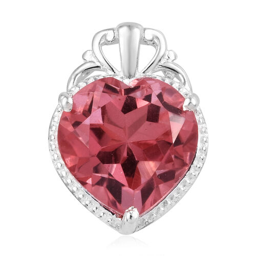 6.25 Ct Coral Colour Quartz Solitaire Heart Pendant in Sterling Silver