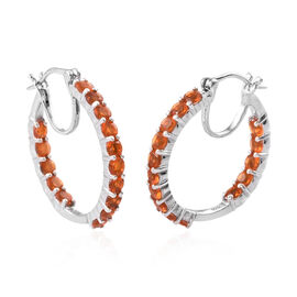 Jalisco Fire Opal (Rnd 3 mm) Hoop Earrings (with Clasp) in Platinum Overlay Sterling Silver 2.250 Ct