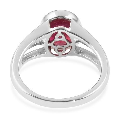African Ruby (Ovl 9x7mm) Solitaire Ring in Platinum Overlay Sterling Silver 2.25 Ct.