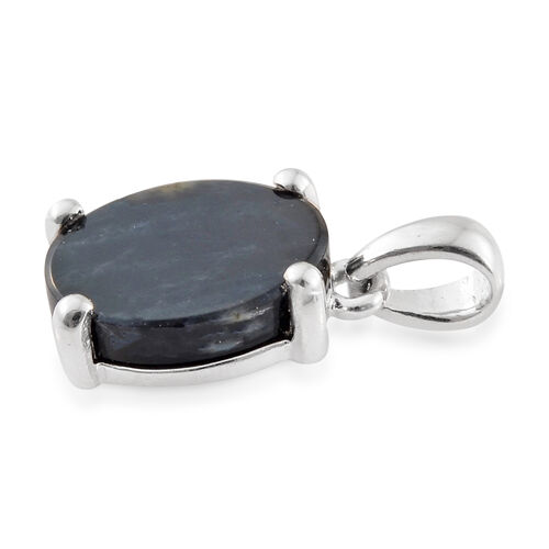 Natural Spectrolite (Ovl) Solitaire Pendant in Platinum Overlay Sterling Silver 3.000 Ct.