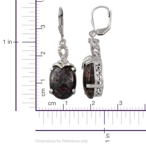 Natural Russian Eudialyte (Ovl), Diamond Lever Back Earrings in Platinum Overlay Sterling Silver 12.700 Ct.
