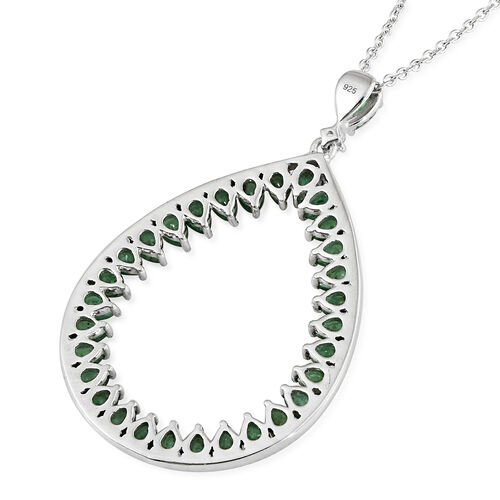 Limited Edition - AA Kagem Zambian Emerald (Pear), Natural Cambodian Zircon Drop Pendant with Chain in Platinum Overlay Sterling Silver 4.500 Ct. Silver wt 7.69 Gms.
